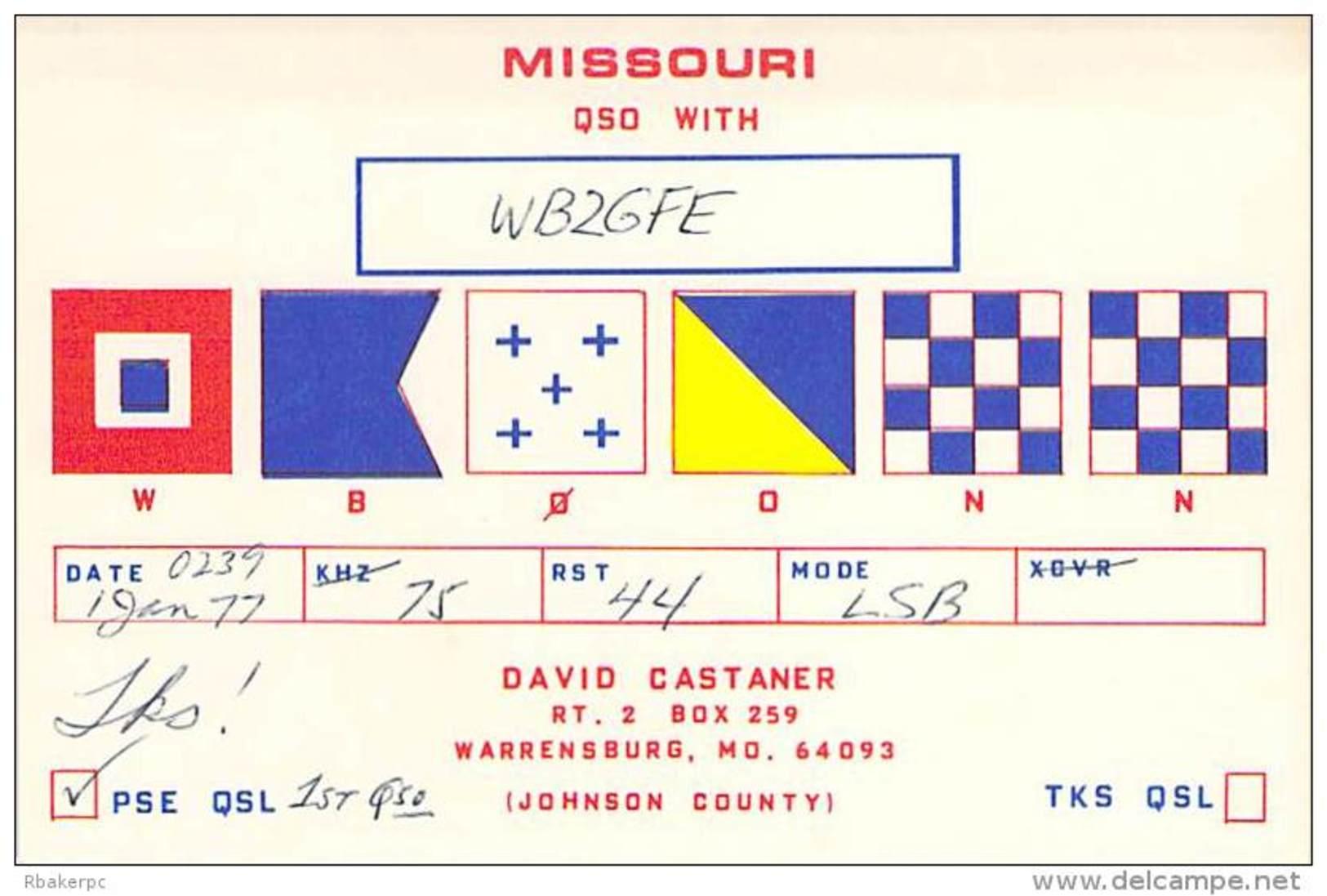 Amateur Radio QSL - WB0ONN - Warrensburg, MO -USA- 1977 - Radio Amateur