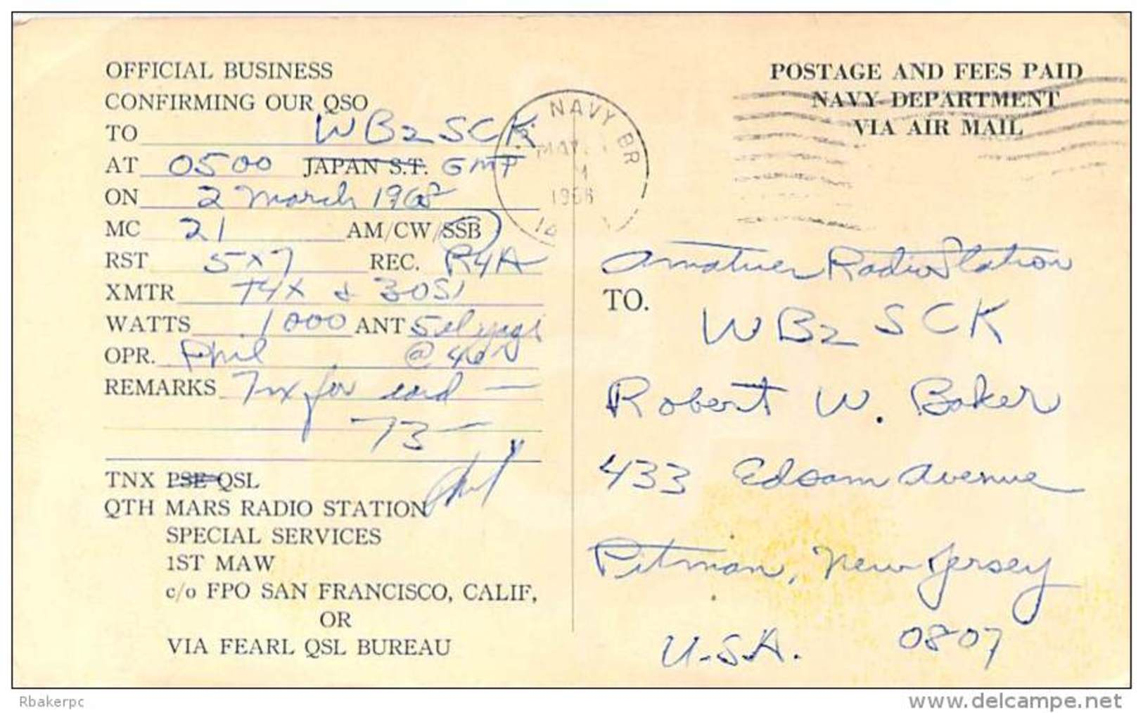 Amateur Radio QSL Card -  KA5MC  US Marine Corps Japan - 1968 - 2 Scans - Radio Amateur