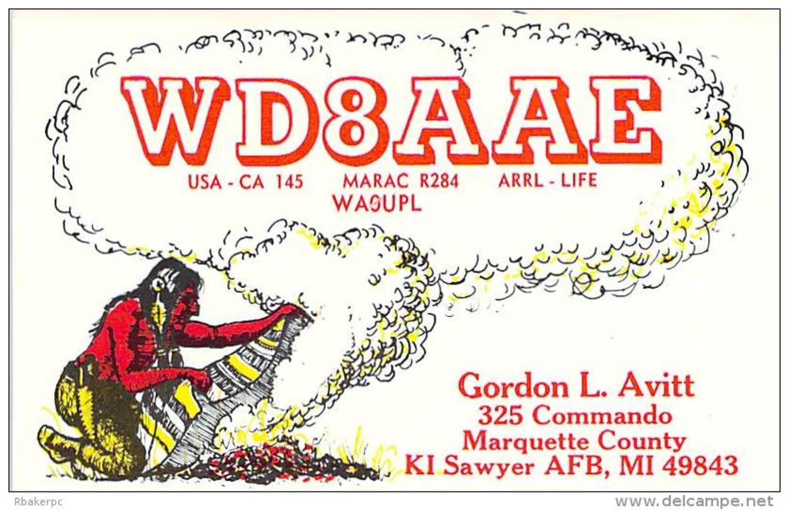 Amateur Radio QSL - WD8AAE - KI Sawyer Air Force Base, MI -USA- 1976 - 2 Scans - Radio Amateur