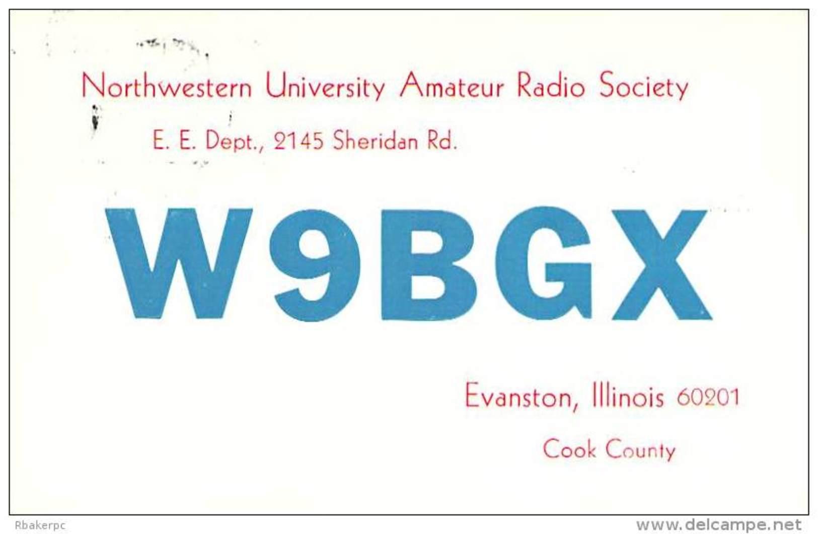 Amateur Radio QSL - W9BGX - Northwestern Univ. Radio Society - Evanston, IL - 1968 - 2 Scans - Radio Amateur