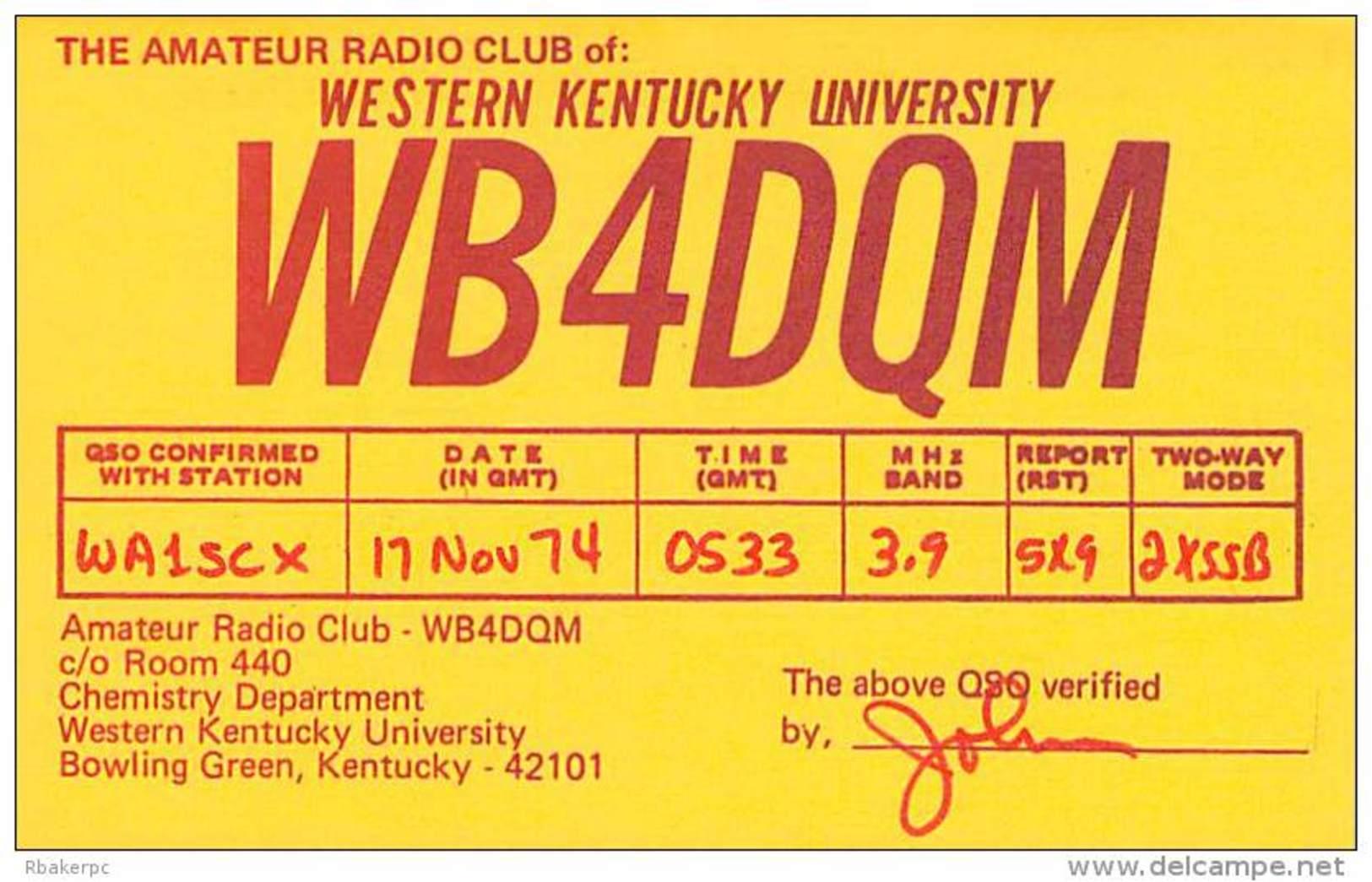 Amateur Radio QSL - WB4DQM - Western KY Univ Radio Club Bowling Green, KY -USA- 1974 - Radio Amateur