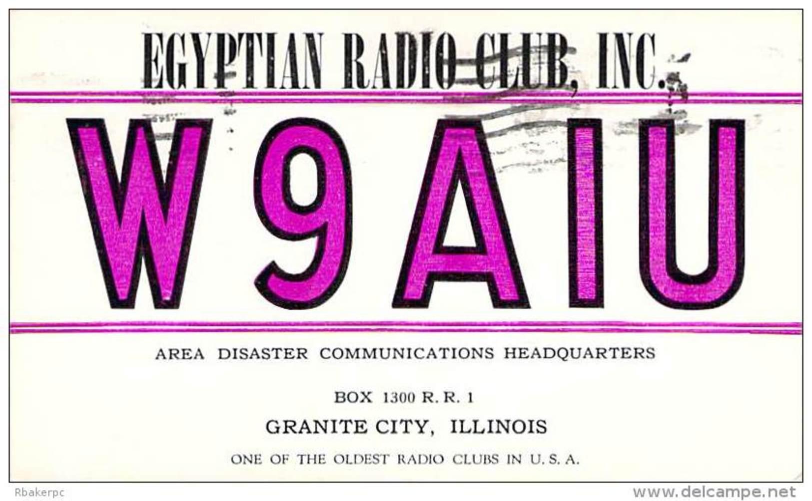 Amateur Radio QSL - W9AIU - Egyptian Radio Club - Granite City, IL -USA- 1974 - 2 Scans - Radio Amateur