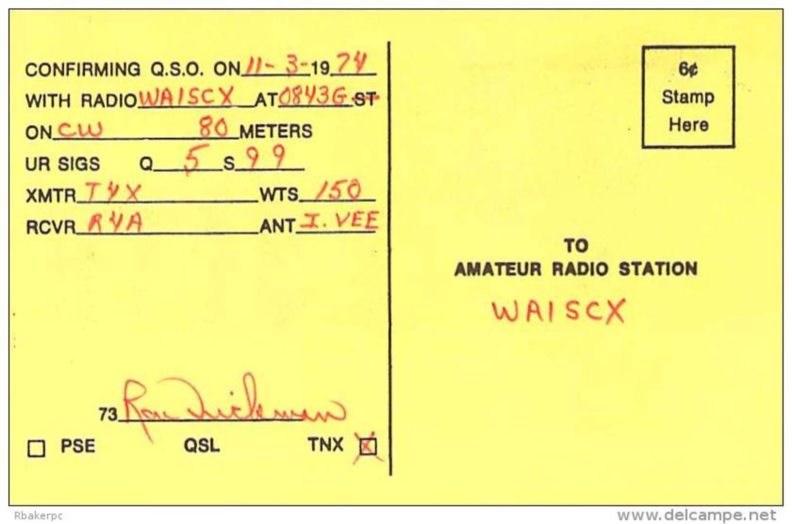 Amateur Radio QSL - K9EYA - Wausau, WI -USA- 1974 - 2 Scans - Radio Amateur