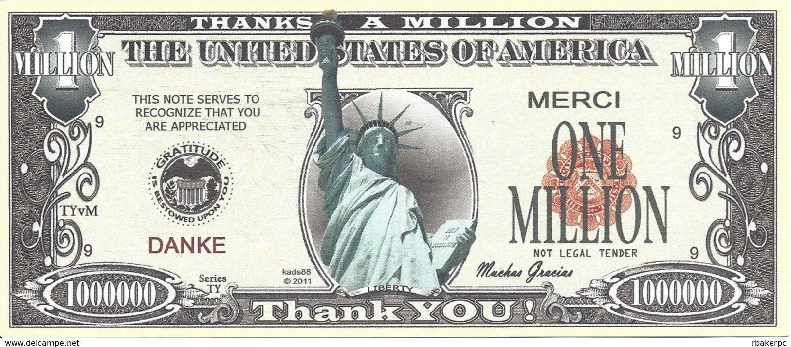 Fake Million Dollar Thank You Bill - United States Of America
