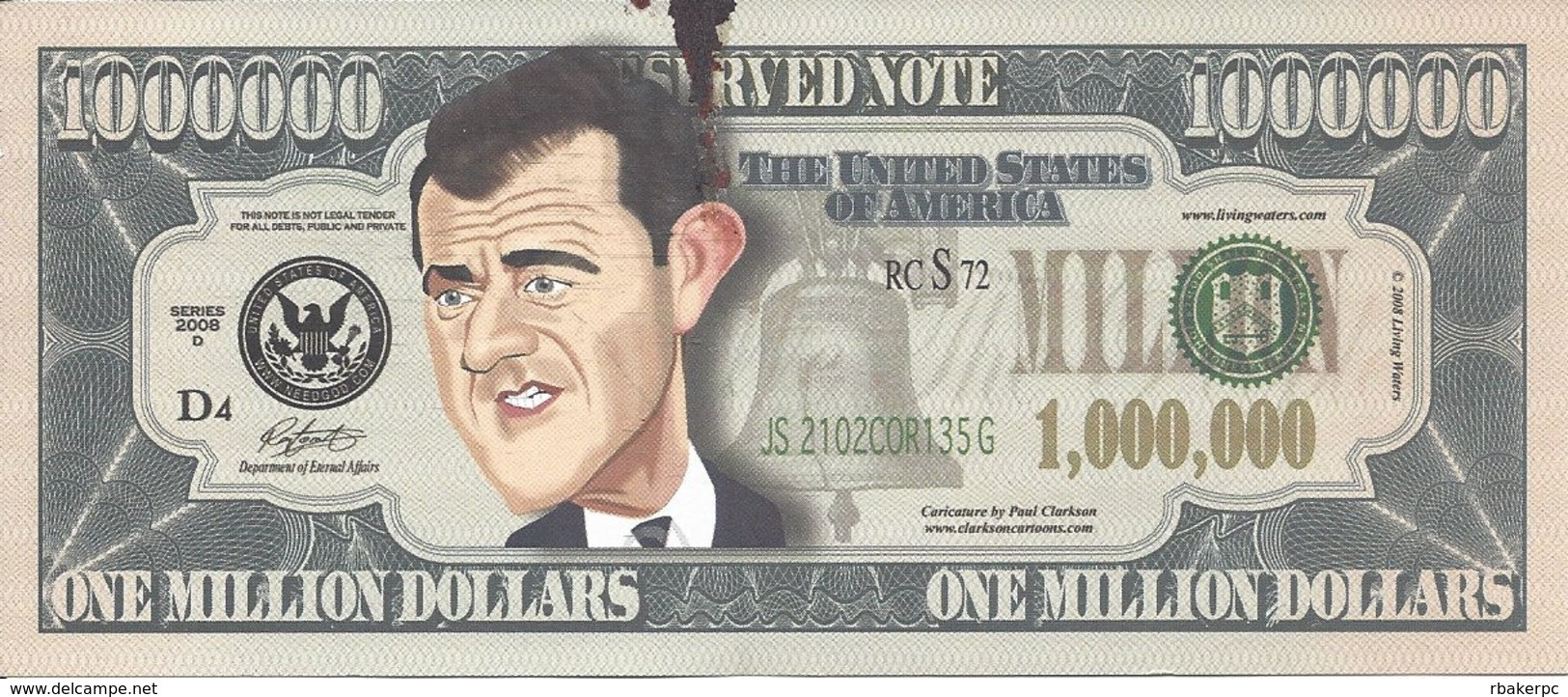 Fake Million Dollar Bill With Caricuture - Small Stain On Front (see Photos) - United States Of America