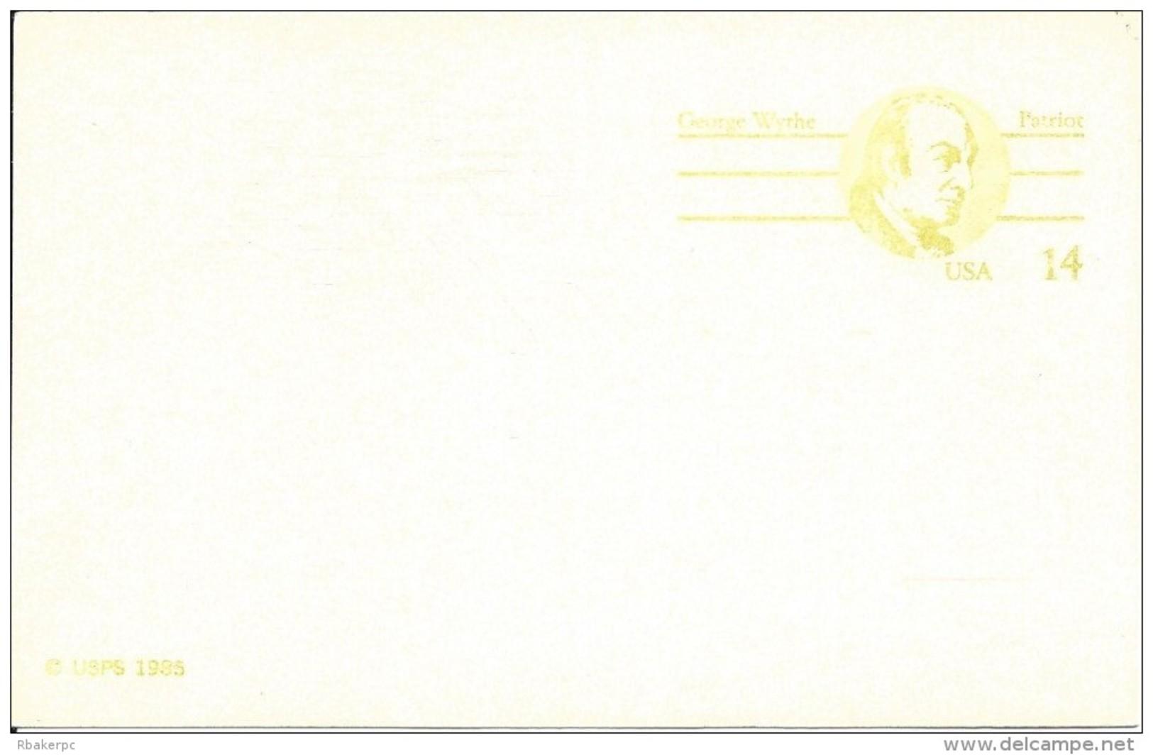 USA Postal Card - 1985 - George Wythe - 14 Cent Card - UNUSED - Postal Stationery