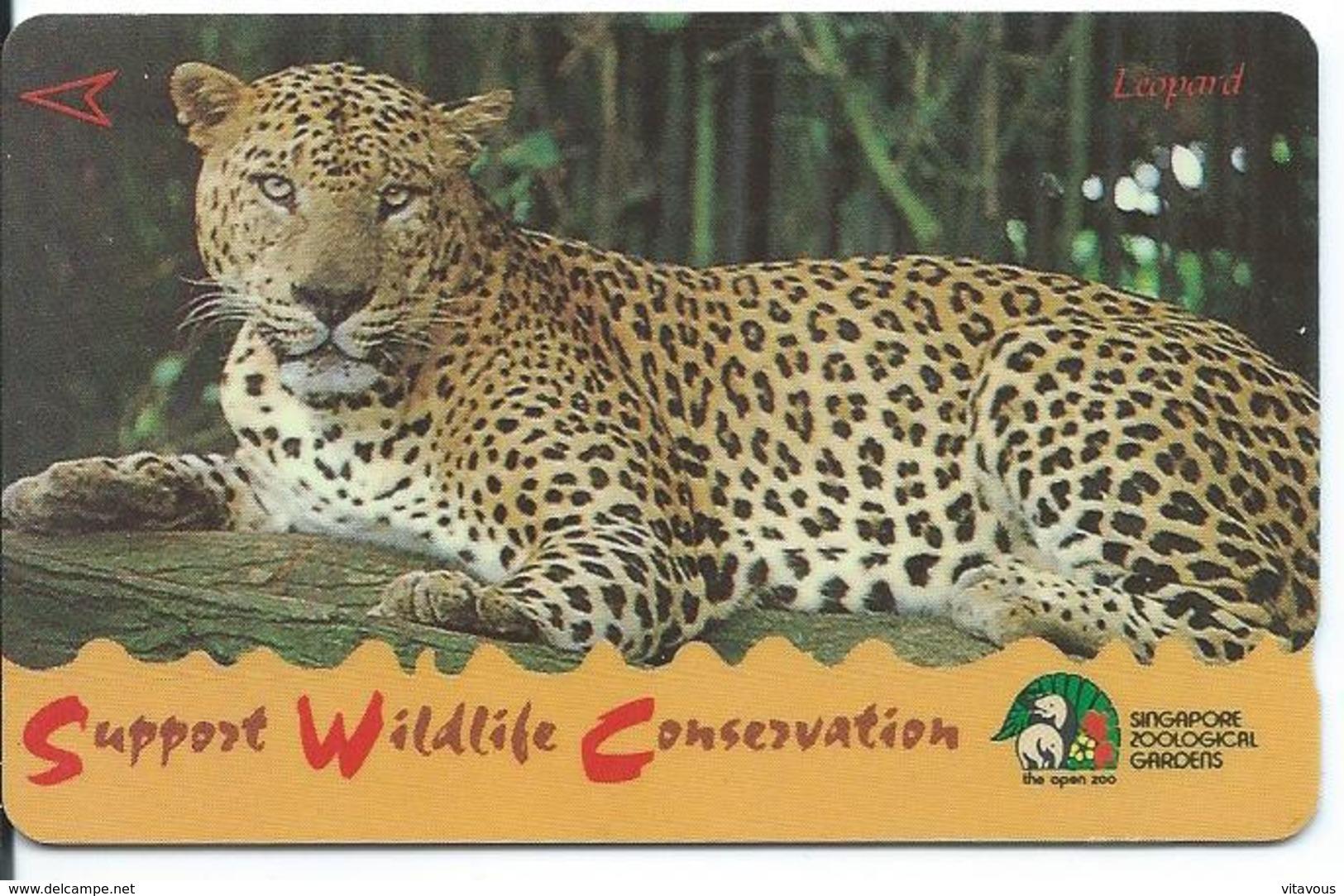 Léopard Animal  Télécarte Singapour Phonecarte  Card  (J 400) - Singapour