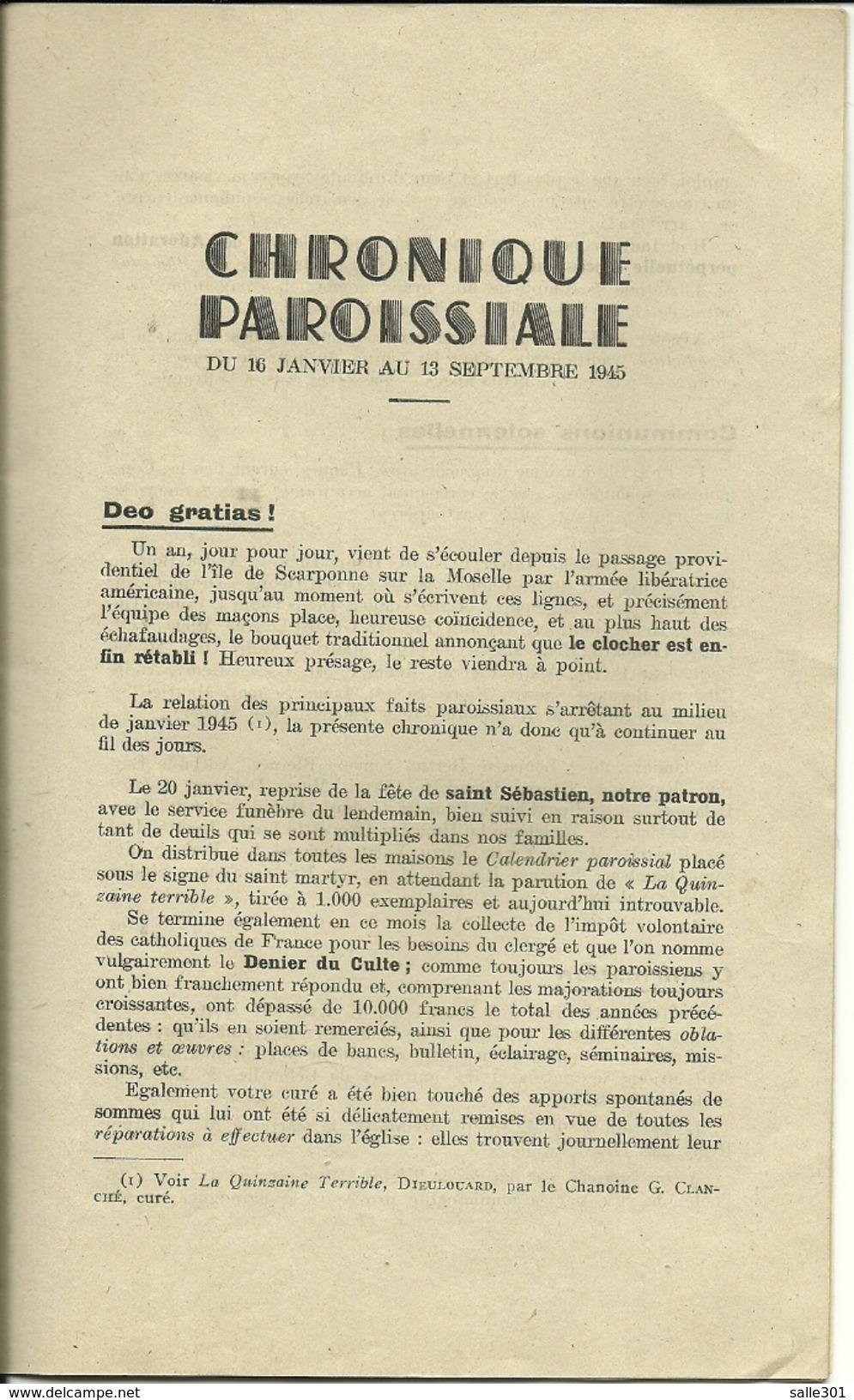 """Militaria Religion Dieulouard """"L'Année De La Libération"""" Photo Du Curé De Dieulouard Chanoine G.Clanché - Newspapers"""