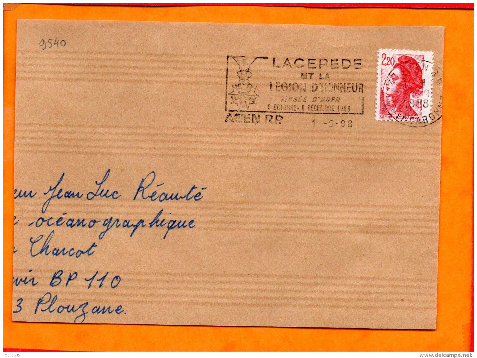 LOT ET GARONNE, Agen, Flamme SCOTEM N° 9540, Lacepede Et La Légion D'Honneur 8 Oct. - 8 Dec. 1988 - Poststempel (Briefe)
