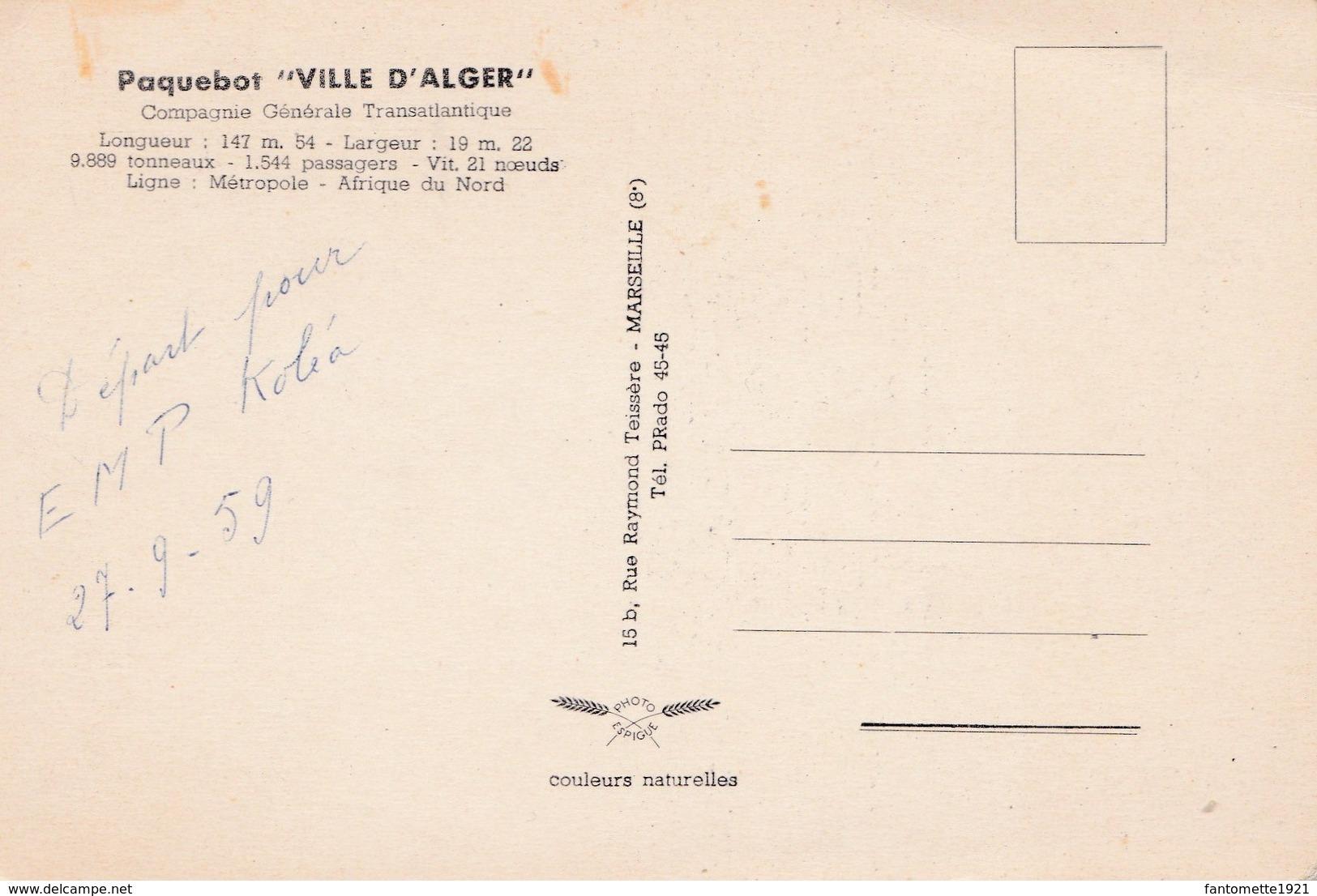 """PAQUEBOT """"VILLE D'ALGER"""" (dil121) - Dampfer"""