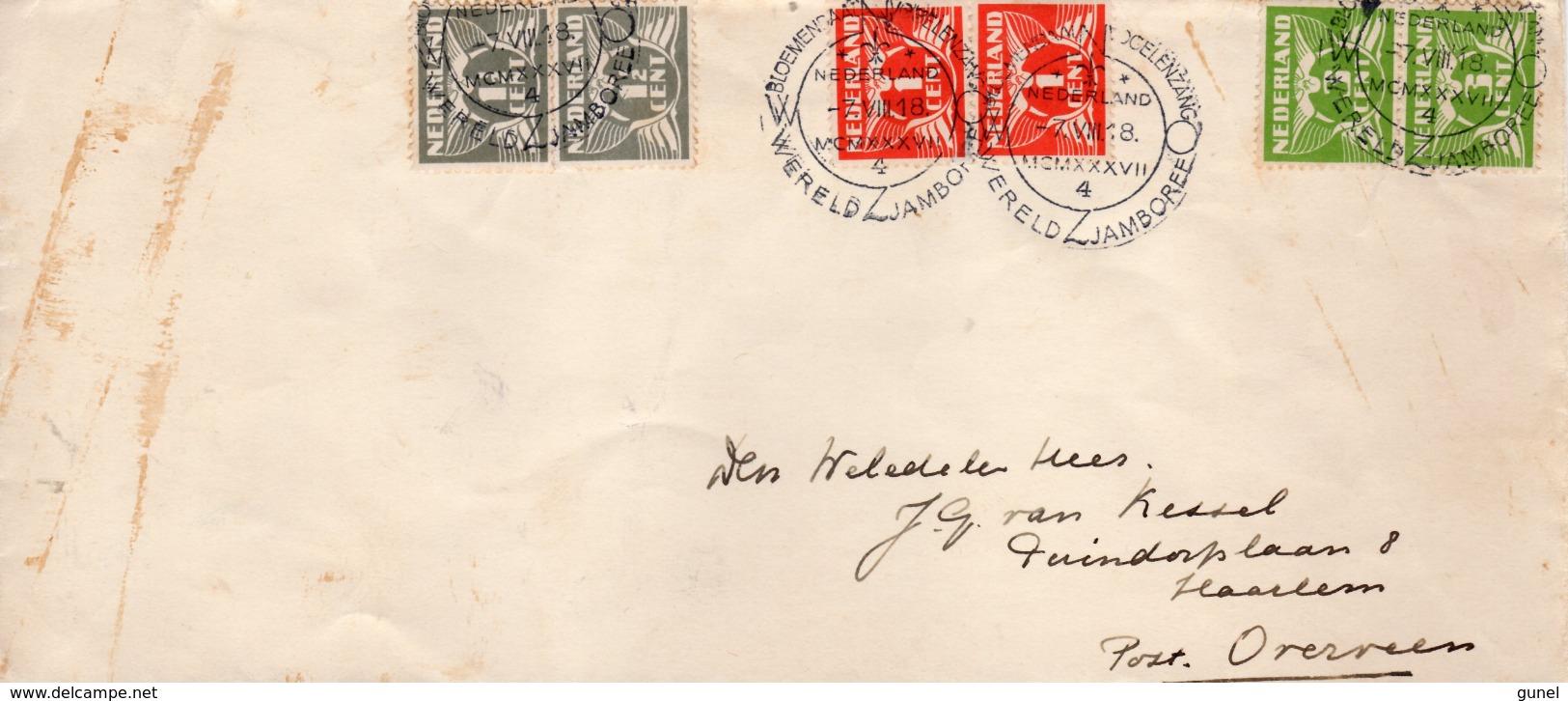 1937 Jamboreestempel 4 Op  Envelop Naar Haarlem Post Overveen - Poststempels/ Marcofilie