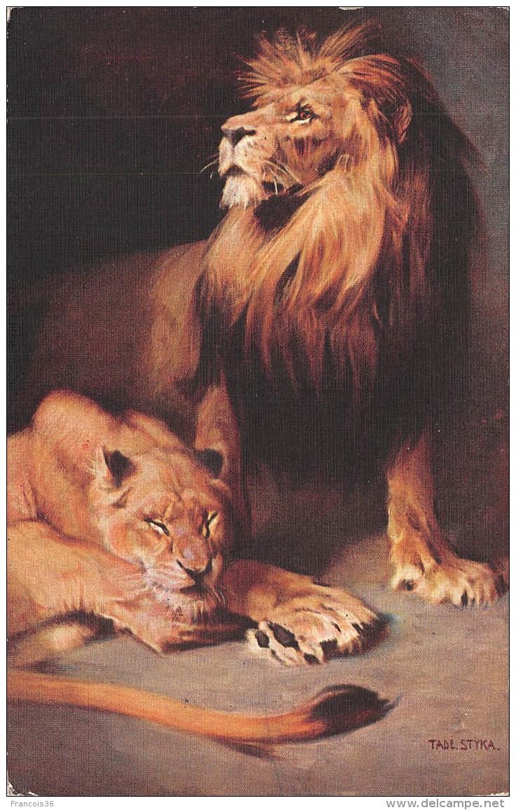 Lot De 3 CPA : Lion Tigre - Lions Tigres - Tiger - Illustrations Par Tade STYKA - Lions