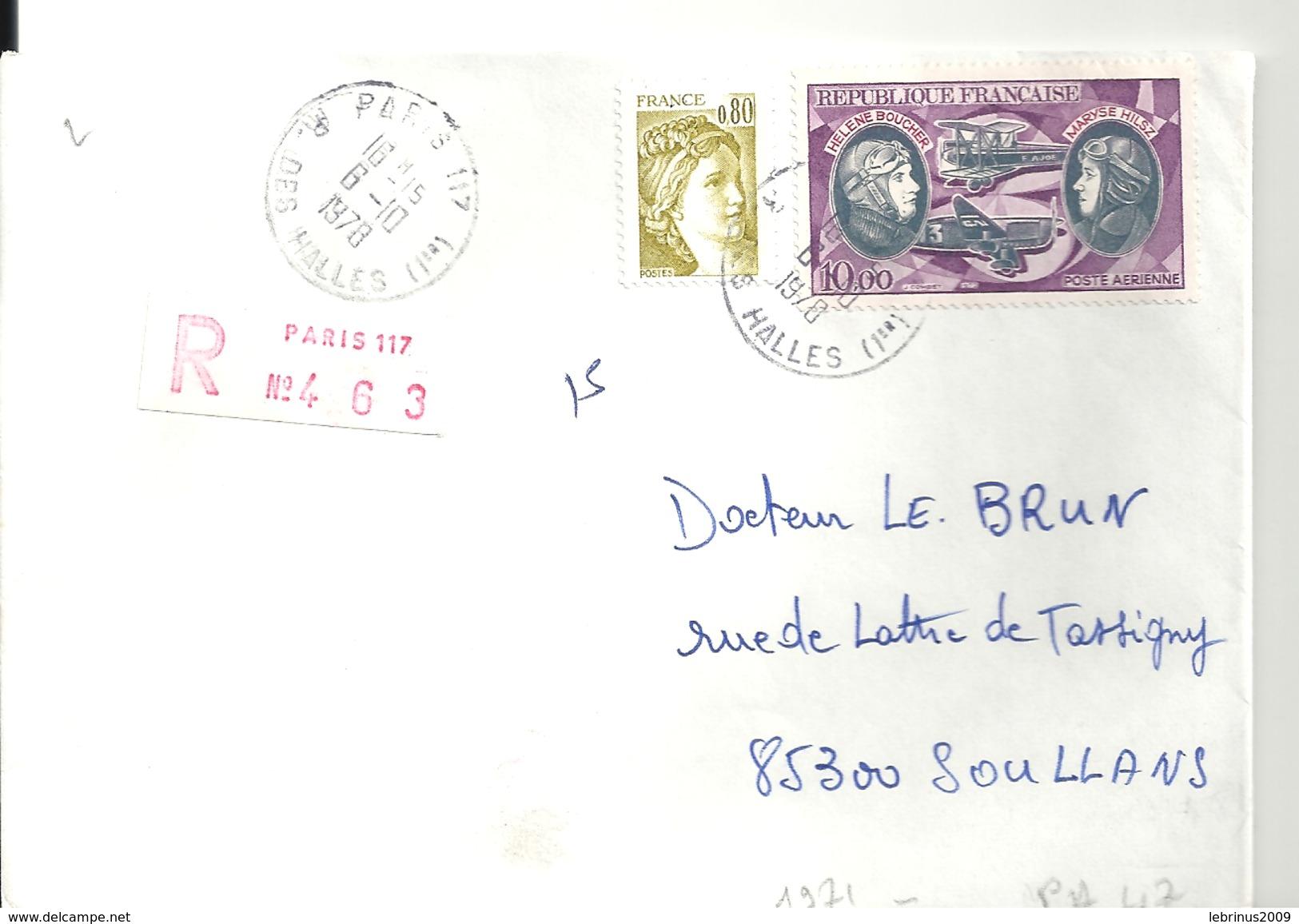 N° 1971 + PA 47 Sur Lettre RECOMMANDEE De PARIS Du 6/10/1978 - Marcophilie (Lettres)