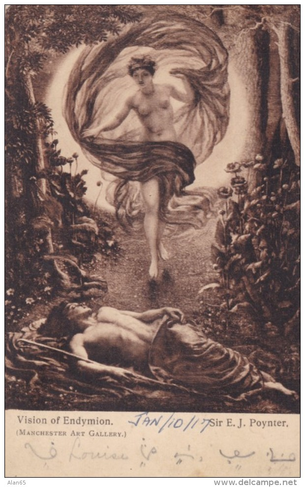 Short-hand Writing Message WW On 'Vision Of Endymion' Painting, C1910s Vintage Postcard - War 1914-18