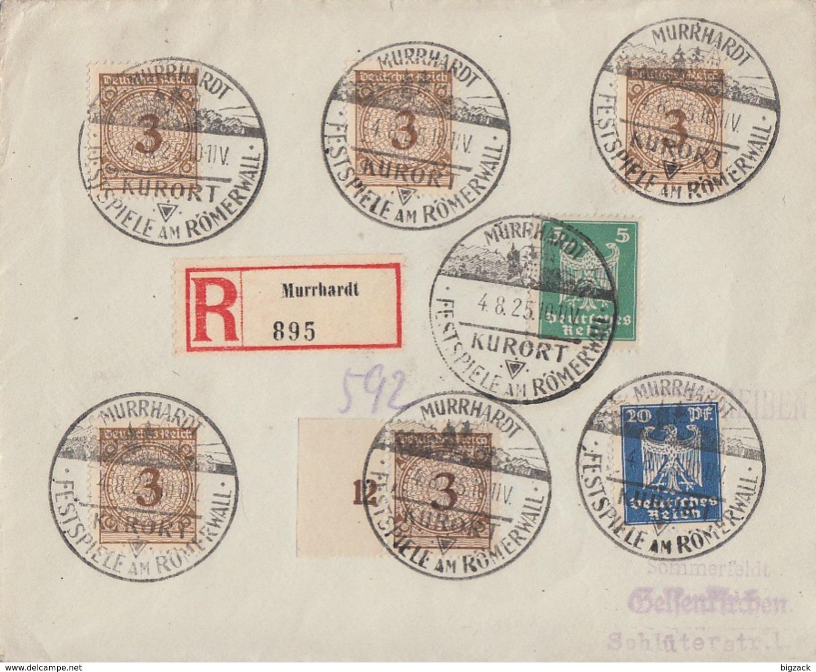 DR R-Brief Mif Minr.5x 338,356,358 SST Murrhardt 4.8.25 Festspiele Am Römerwall - Briefe U. Dokumente