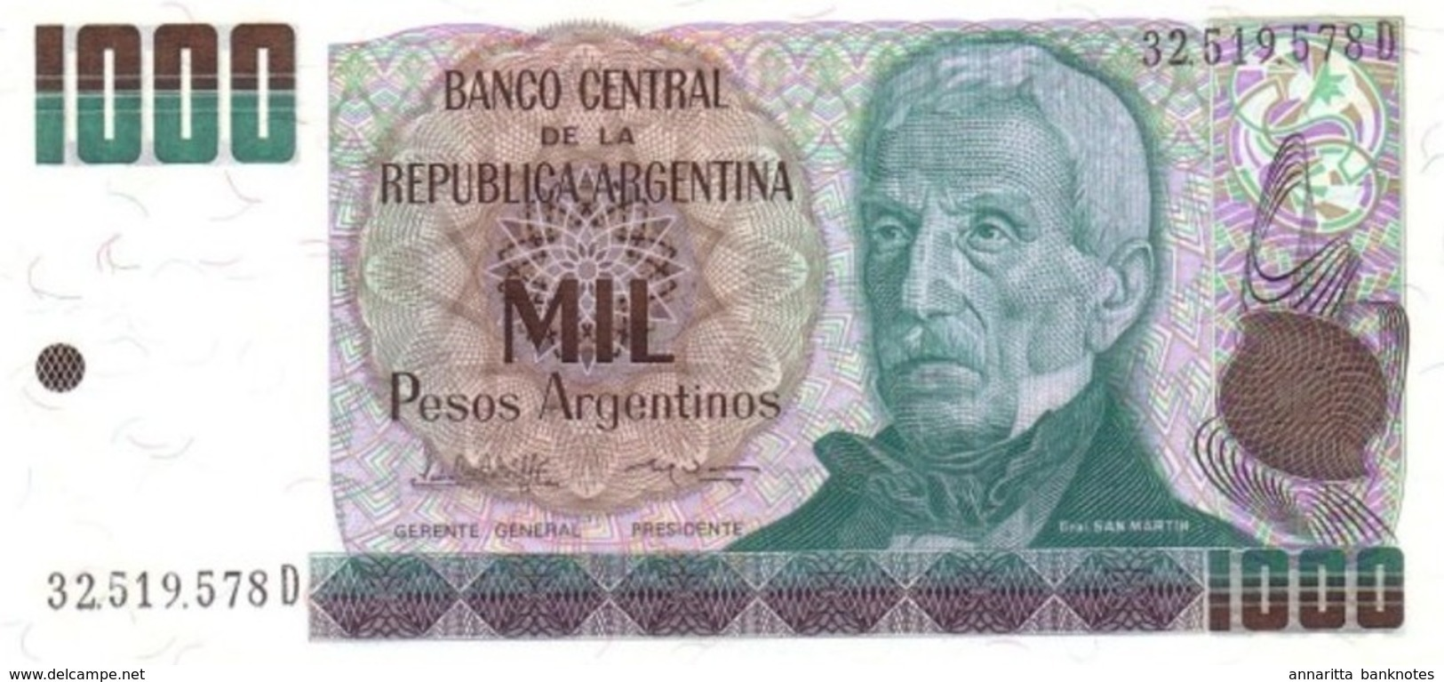 ARGENTINE 1000 PESOS ARGENTINOS 1985 P-317b UNC SIGN. LOPEZ & VAZQUEZ [AR317b] - Argentine