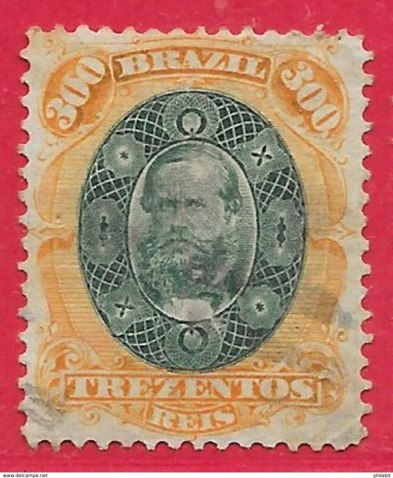 Brésil N°47 300r Orange & Vert 1878 O - Brésil