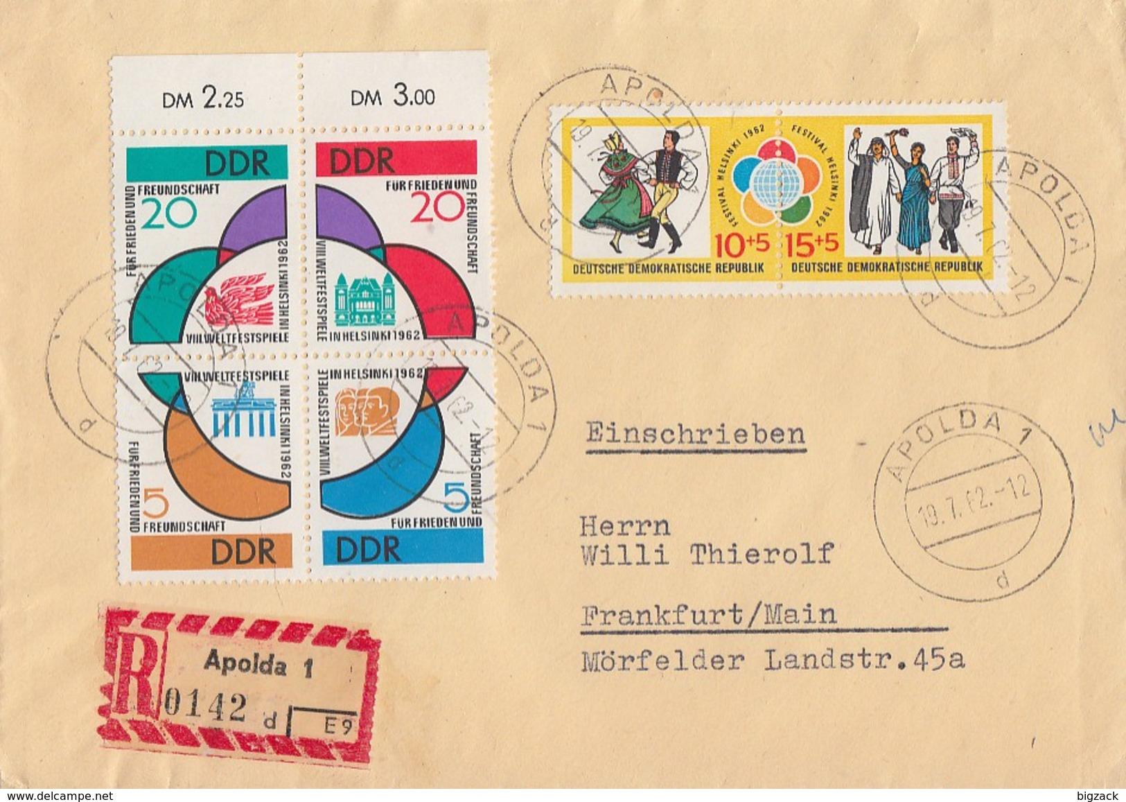 DDR R-Brief Mif Minr.901-904 4er Block, 905-906 Zdr.Apolda 19.7.62 Gel Nach Frankfurt/M. - DDR