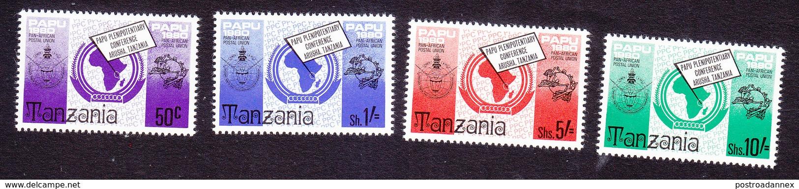 Tanzania, Scott #153-156, Mint Hinged, Pan African Postal Union, Issued 1980 - Tanzania (1964-...)