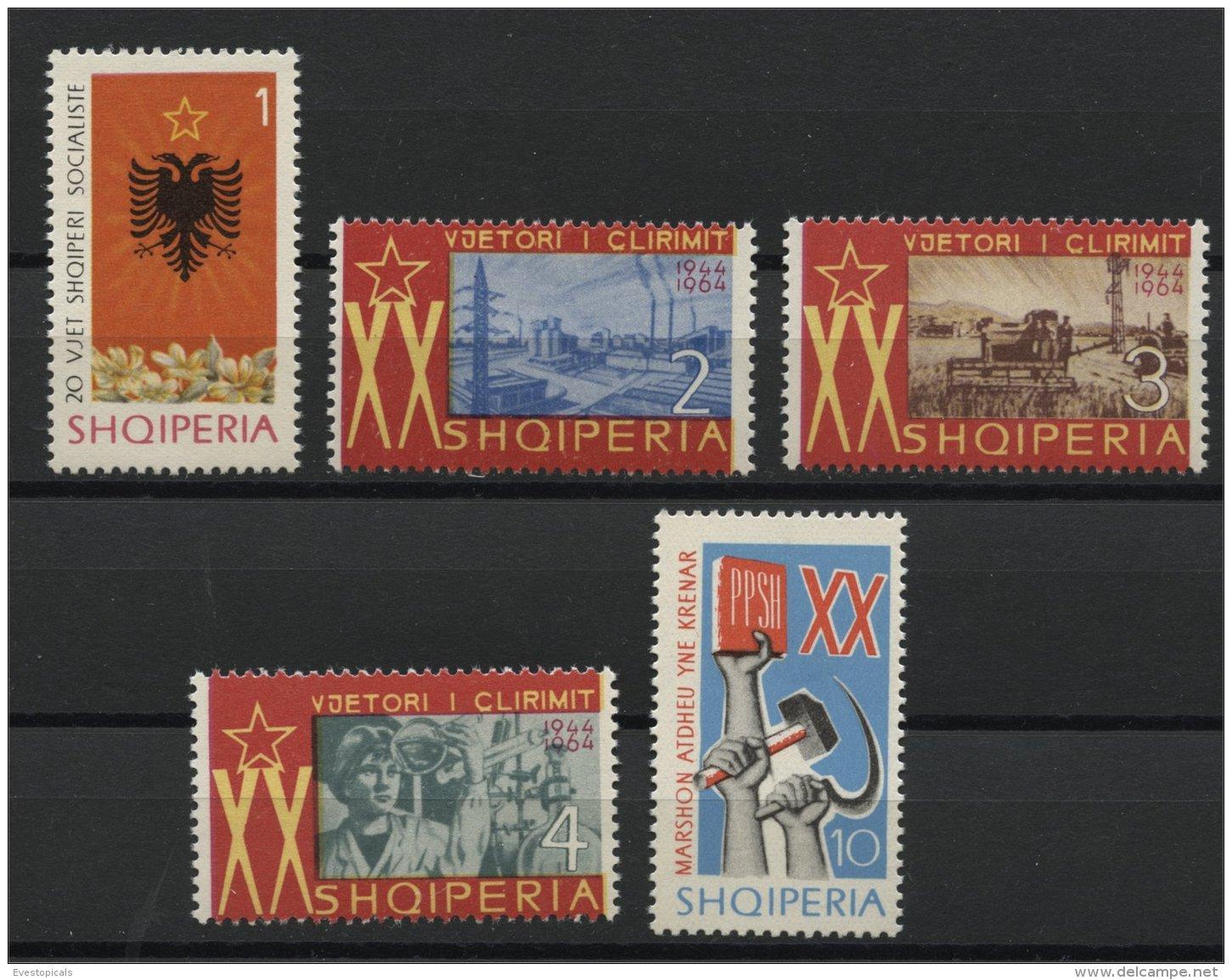 ALBANIA, 20TH YEARS ANNIVERSARY OF THE SOCIALIST SEIZURE OF POWER 1964, NH SET - Albania