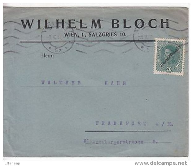 Austria: Commercial Cover; Wilhelm Bloch, Wien, To Frankfurt, 8 May 1918 - Austria