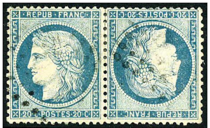 N°37c, 20 C. Bleu, Paire Horizontale Tête-bêche, Oblitérée GC, Une Dent Courte Sinon TB - 1870 Siege Of Paris