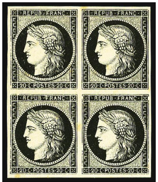 N°3, 20 C. Noir Sur Jaune, Bloc De 4, Légères Rousseurs Sinon TB - 1849-1850 Ceres