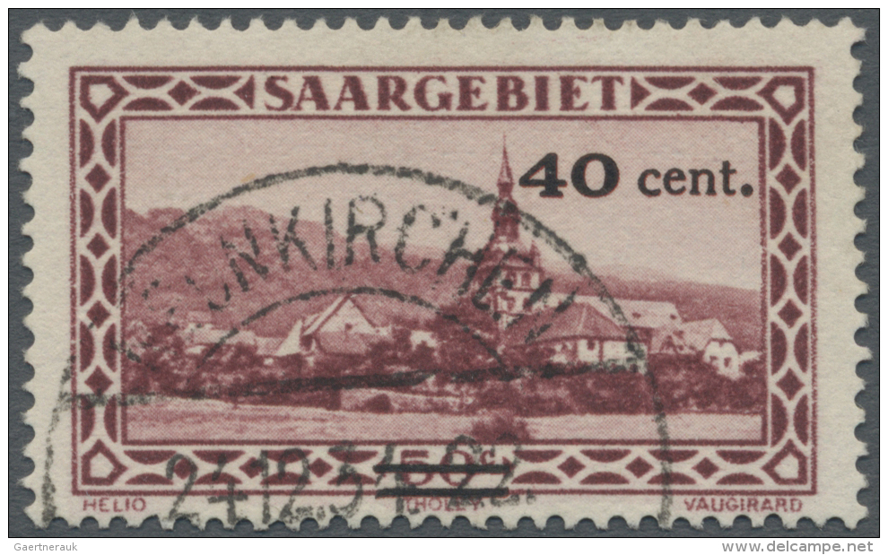 Deutsche Abstimmungsgebiete: Saargebiet: 1934, Freimarke: Landschaftsbilder, 40 C. Auf 50 C., Abart 'Aufdruck In Rot, Zu - 1920-35 League Of Nations