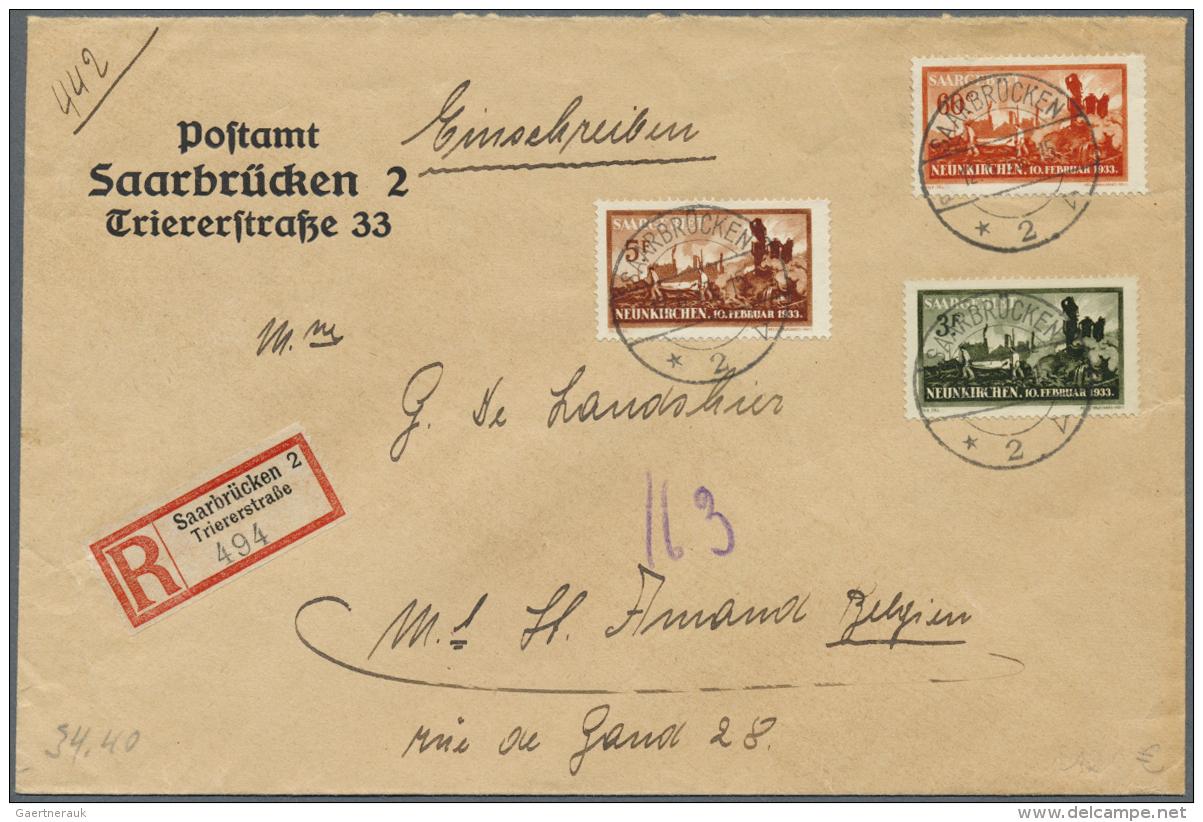 Deutsche Abstimmungsgebiete: Saargebiet: 1933, Explosionsunglück Neunkirchen, Kompletter Satz (3 Werte) Auf Einschr - 1920-35 League Of Nations