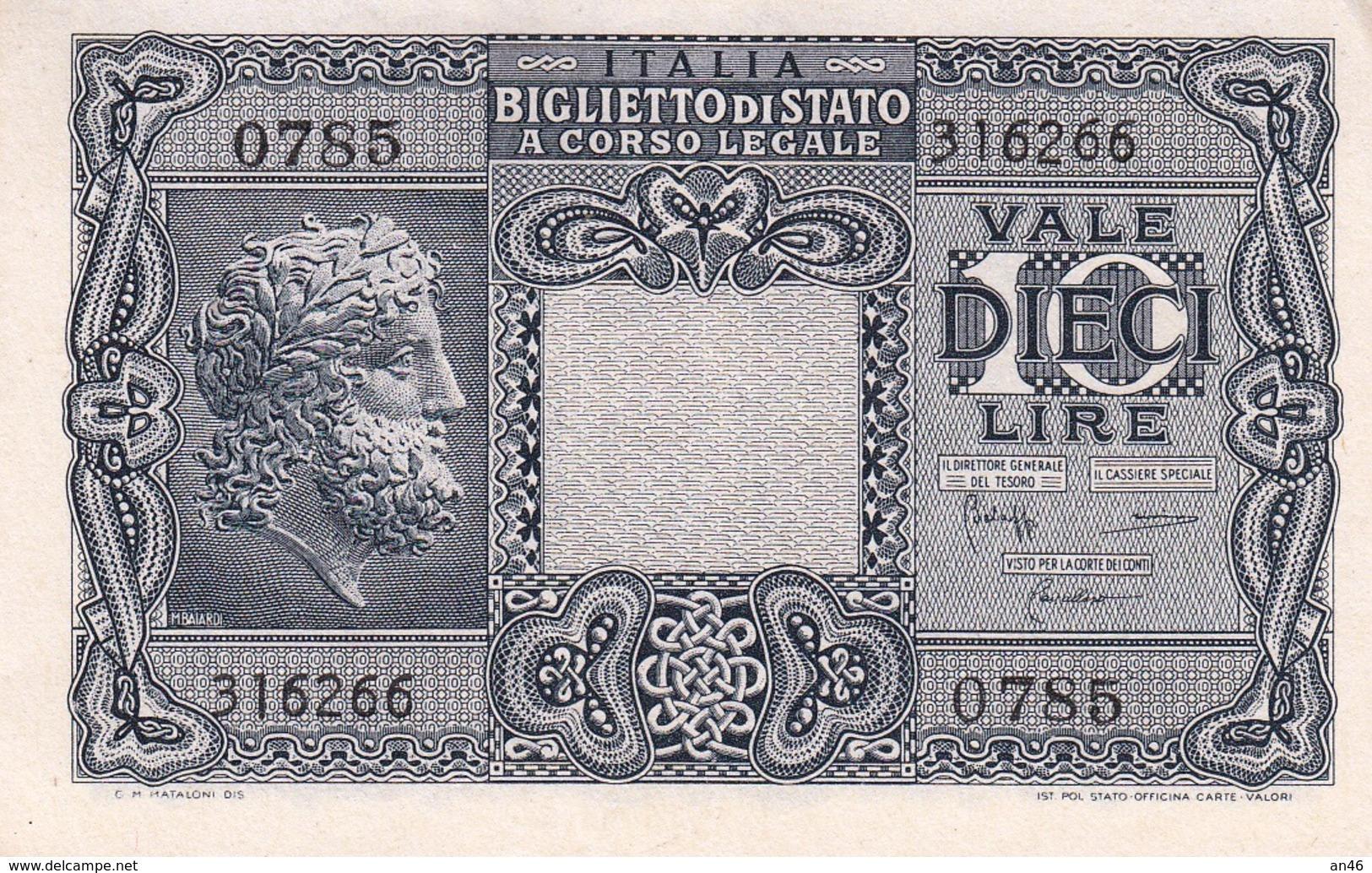 """Banconote Da 10 Lire Lotto Di 1 Biglietto_ N°0785 Serie 316266-"""" 2 SCANSIONI- - Italia"""