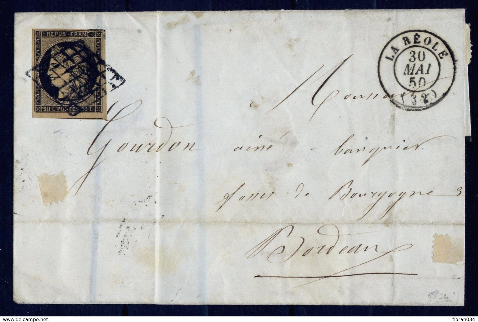 France N° 3d Noir S/FAUVE S/Lettre Obl. Grille - Signé Calves - Cote 1600 Euros TTB Qualité - 1849-1850 Ceres