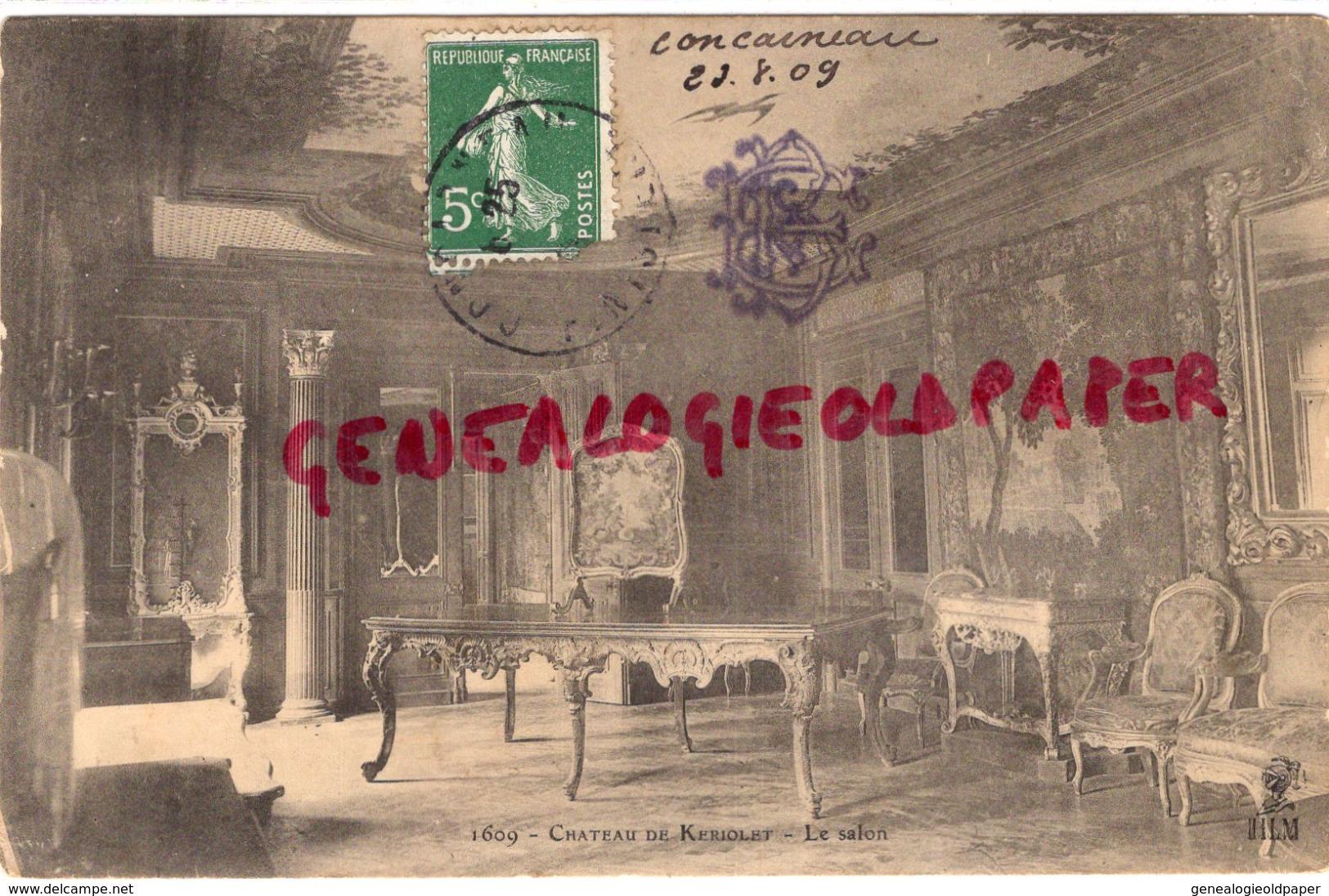 29 - BEUZEC CONQ - CONCARNEAU - LE CHATEAU DE KERIOLET - LE SALON- 1909 - Beuzec-Cap-Sizun