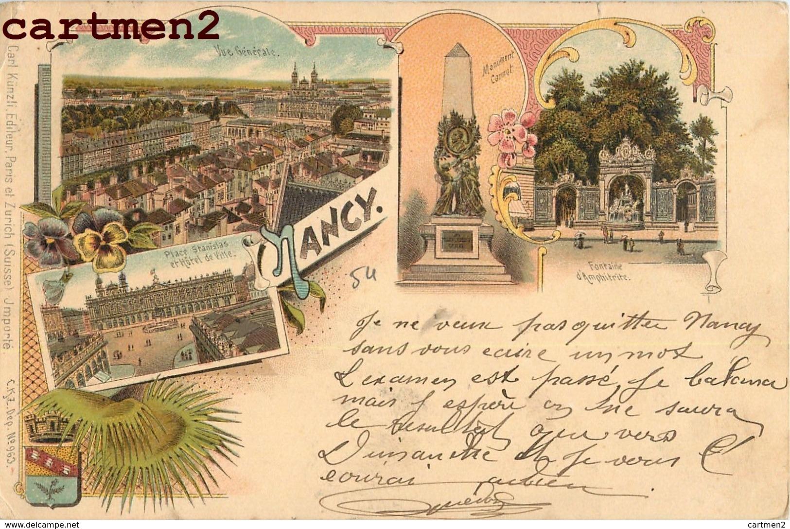 NANCY PLACE STANISLAS HOTEL DE VILLE FONTAINE D'AMPHITRITE LITHOGRAPHIE 54 - Nancy