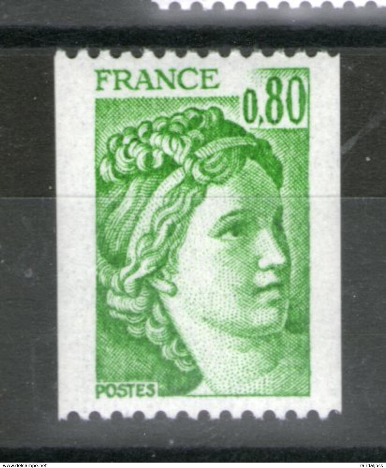 N° 1980**_Sabine 0.80 Vert_cote 1.60 - Francobolli In Bobina