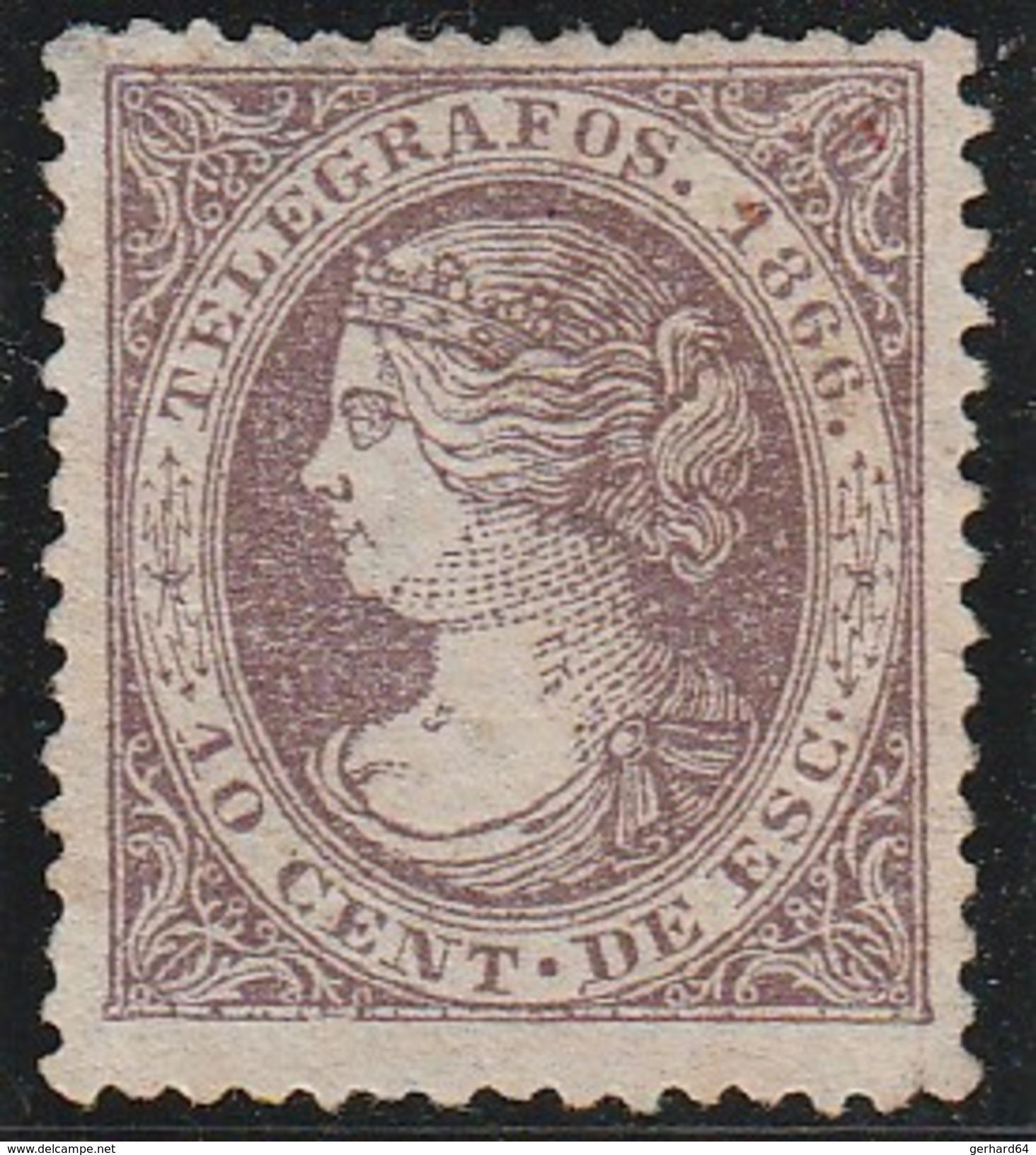 ESPAGNE 1866 - Télégraphe (Telegrafos) N° 13 - Neuf Sans Gomme - Télégraphe