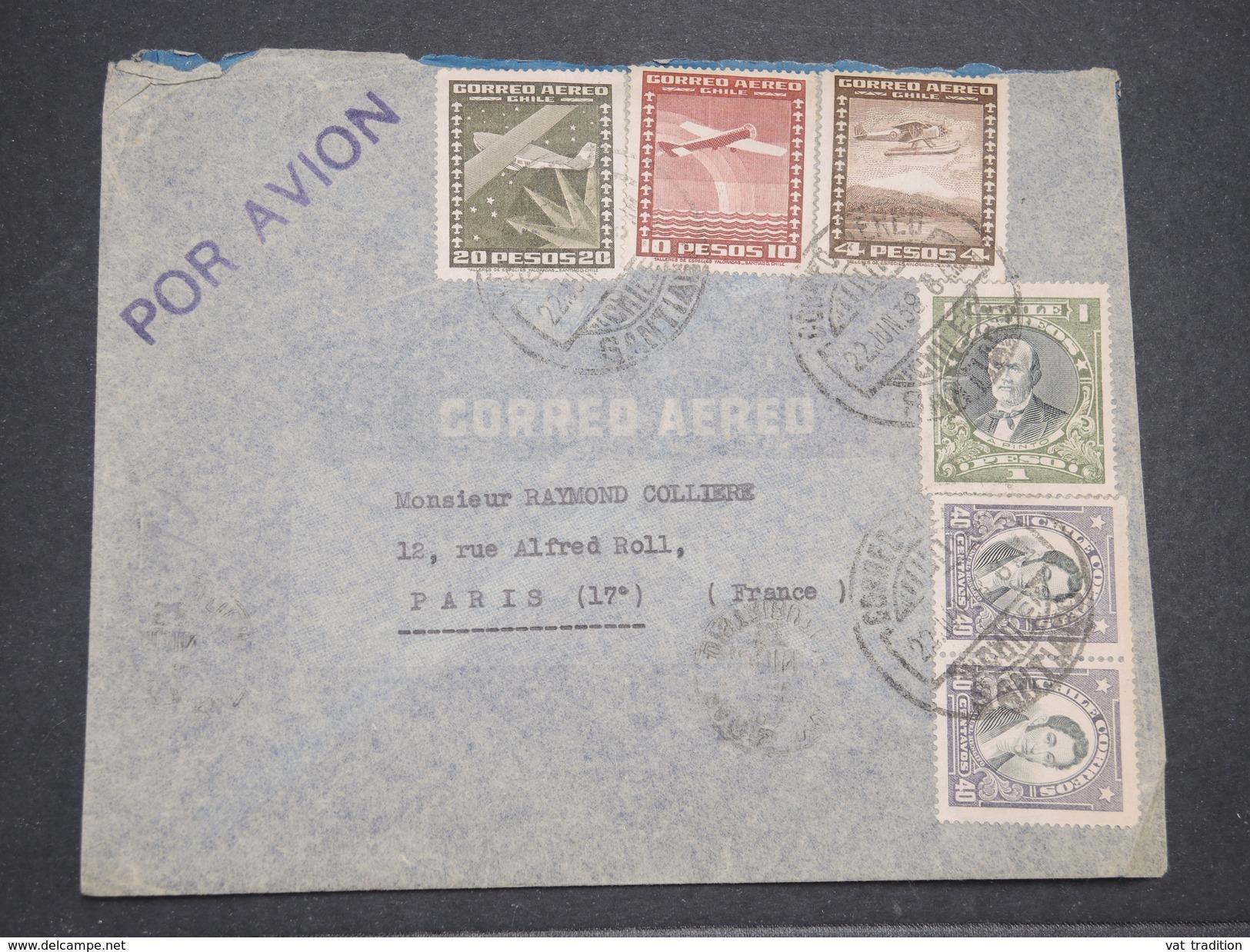 CHILI - Enveloppe De Santiago Pour La France En 1938 Par Avion , Affranchissement Plaisant - L 7883 - Chile