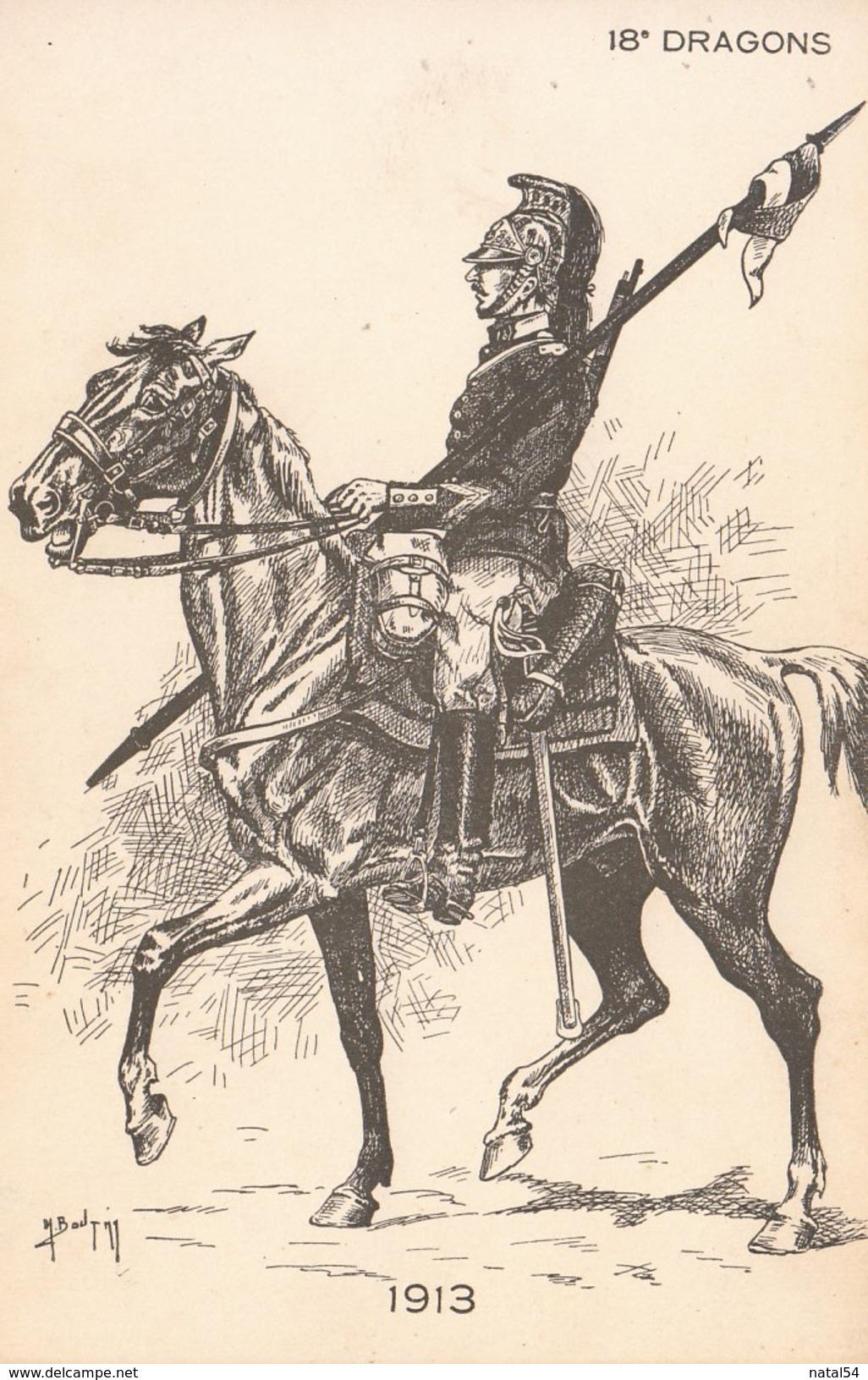 H. Boutmy : 18° Dragons - 1913 - Carte Neuve - Künstlerkarten