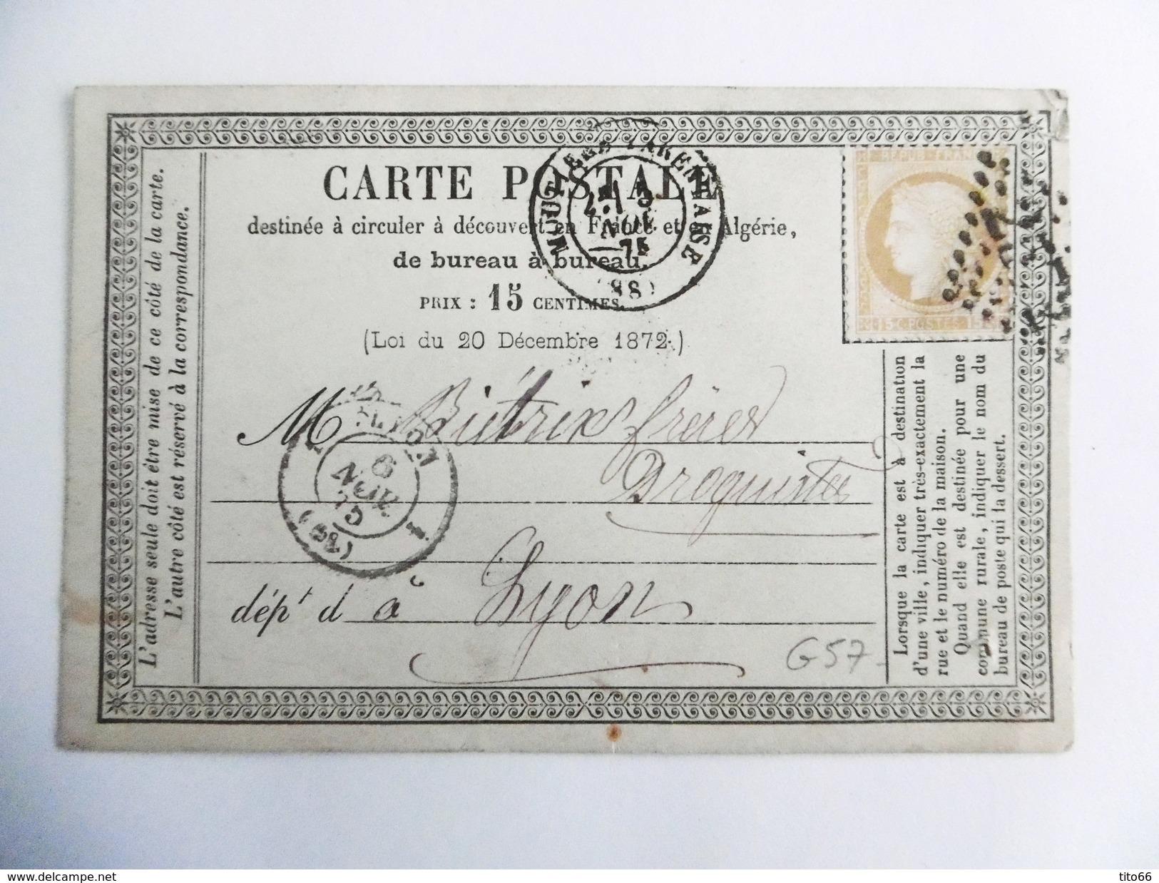 Carte Postale Précurseur Avec Cérès N°55 De Moutier Vers Lyon - Entiers Postaux