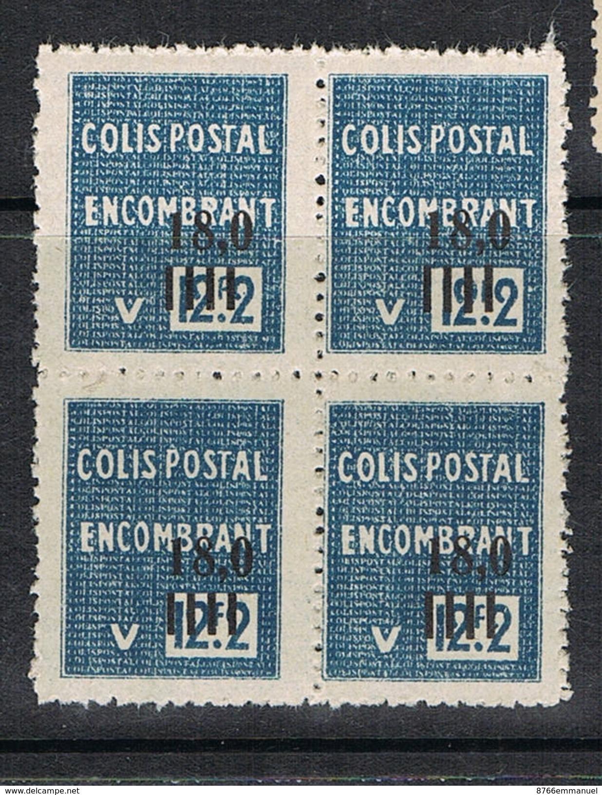 ALGERIE COLIS POSTAL N°150 N** EN BLOC DE 4, Variété Sans Surcharge - Algérie (1924-1962)