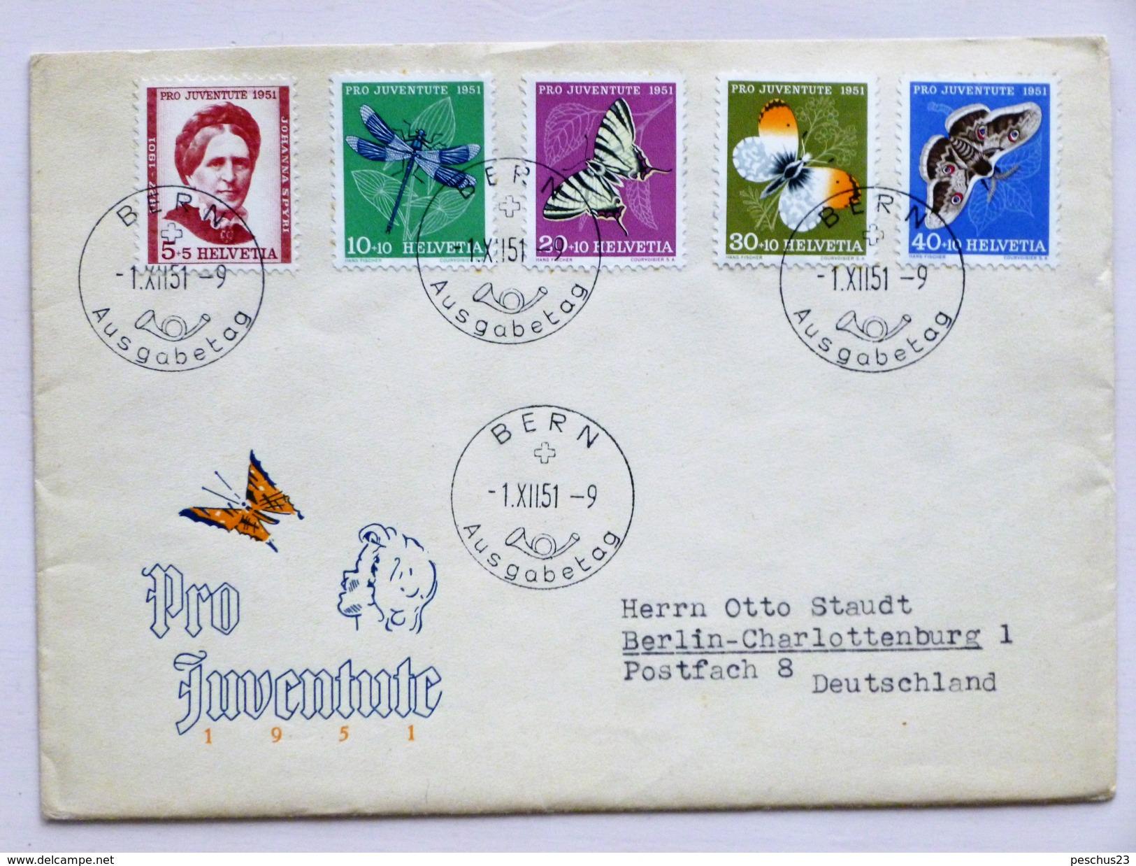 SUISSE / SCHWEIZ / SWITZERLAND // 1951, FDC PRO JUVENTUTE, Illustriertes Couvert, Kpl. Serie, BERN 1.XII.51=>DEUTSCHLAND - Lettres & Documents