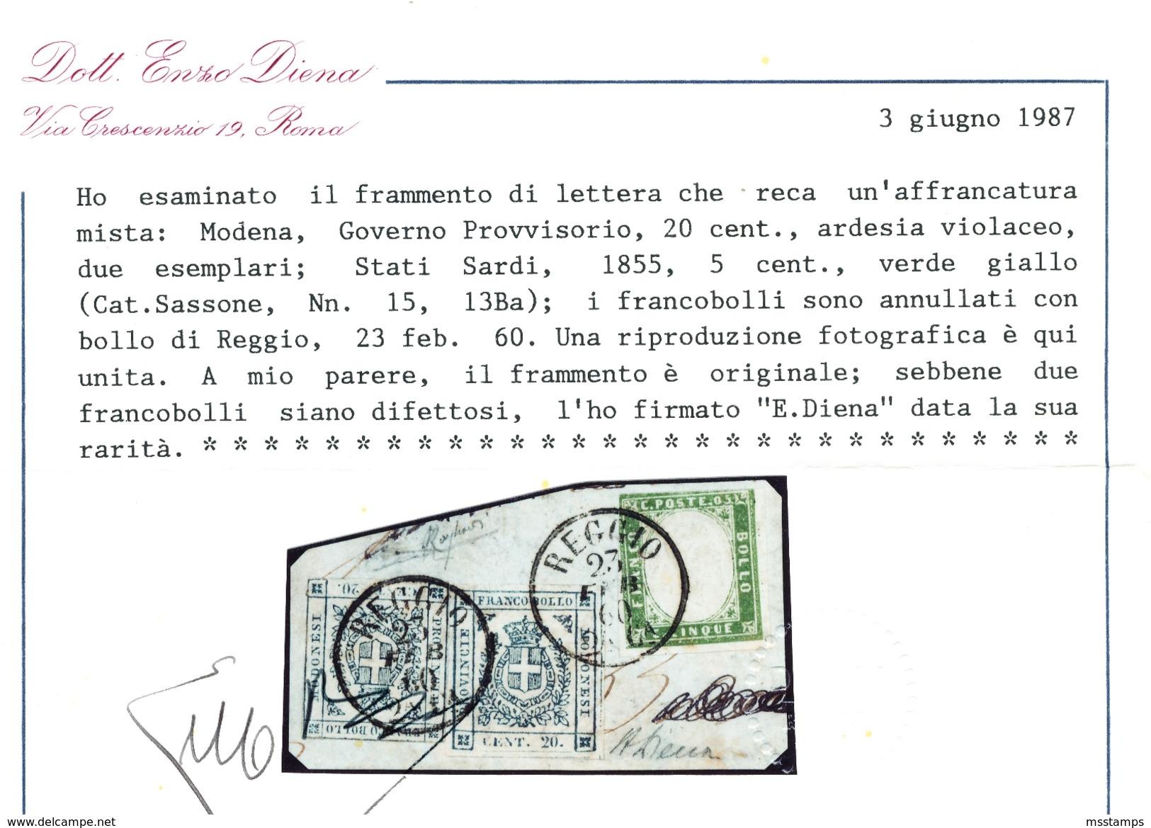 MODENA Governo Provvisorio + SARDEGNA RARISSIMA AFFRANCATURA MISTA REGNO D'ITALIA REGGIO EMILIA Certificato - Storia Postale