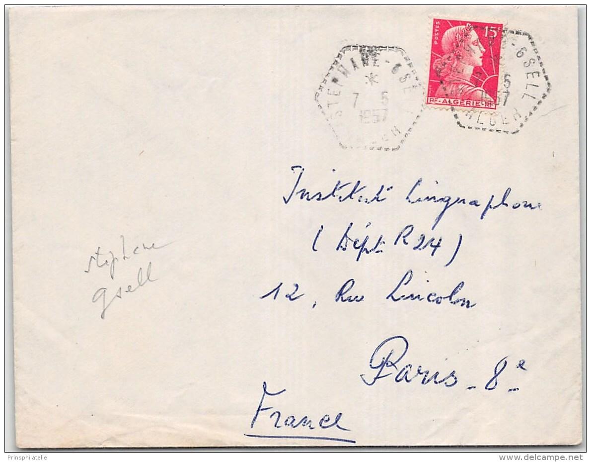 LETTRE AVEC PERLE HEXA DE STEPHANE GSELL ALGER 1957  ALGERIE FRANCE COVER - Algeria (1924-1962)