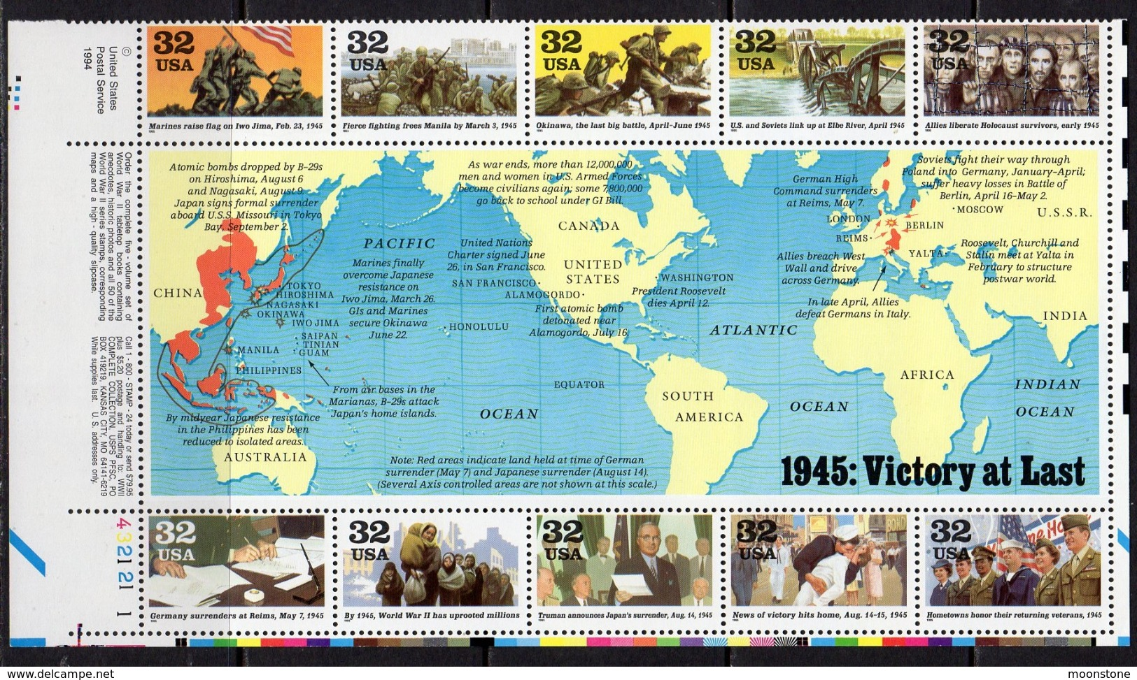 USA 1995 Participation In WWII Sheetlet Of 10, MNH (SG 3102/3111) - United States