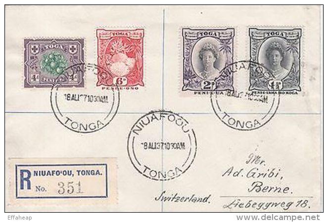 Tonga: 2 Registered Covers, Niuafo'ou To Berne, Switzerland, 18 Aug-6 Oct 1937 - Tonga (...-1970)
