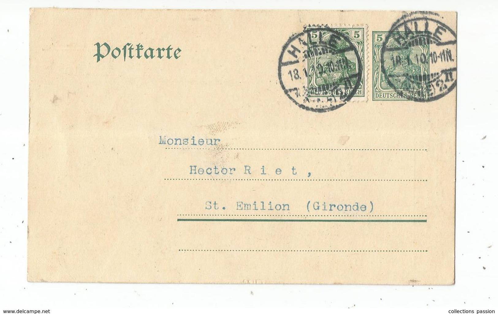 Carte Postale , Allemagne , HALLE , SAALE , Land SAXE - ANHALT , 1910 , Pottel & Broskowski - Lettres & Documents