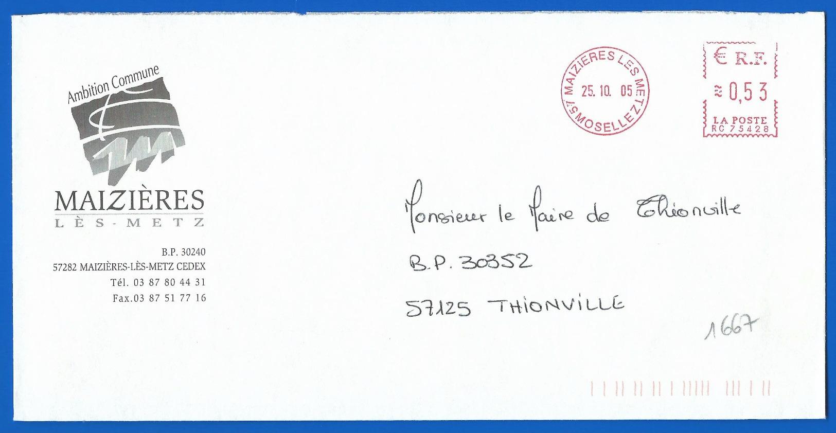 Mairie  (1667) MAIZIERES LES METZ 57282 - 25 10 2005 - Marcophilie (Lettres)