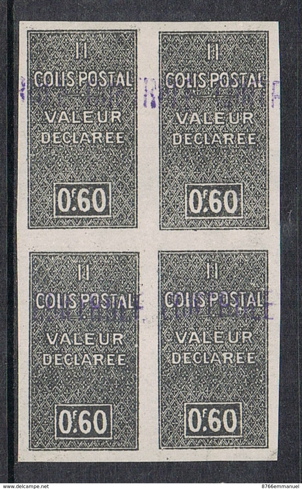 ALGERIE COLIS POSTAL N°51a N**  Variété Non Dentelé En Bloc De 4 - Algérie (1924-1962)
