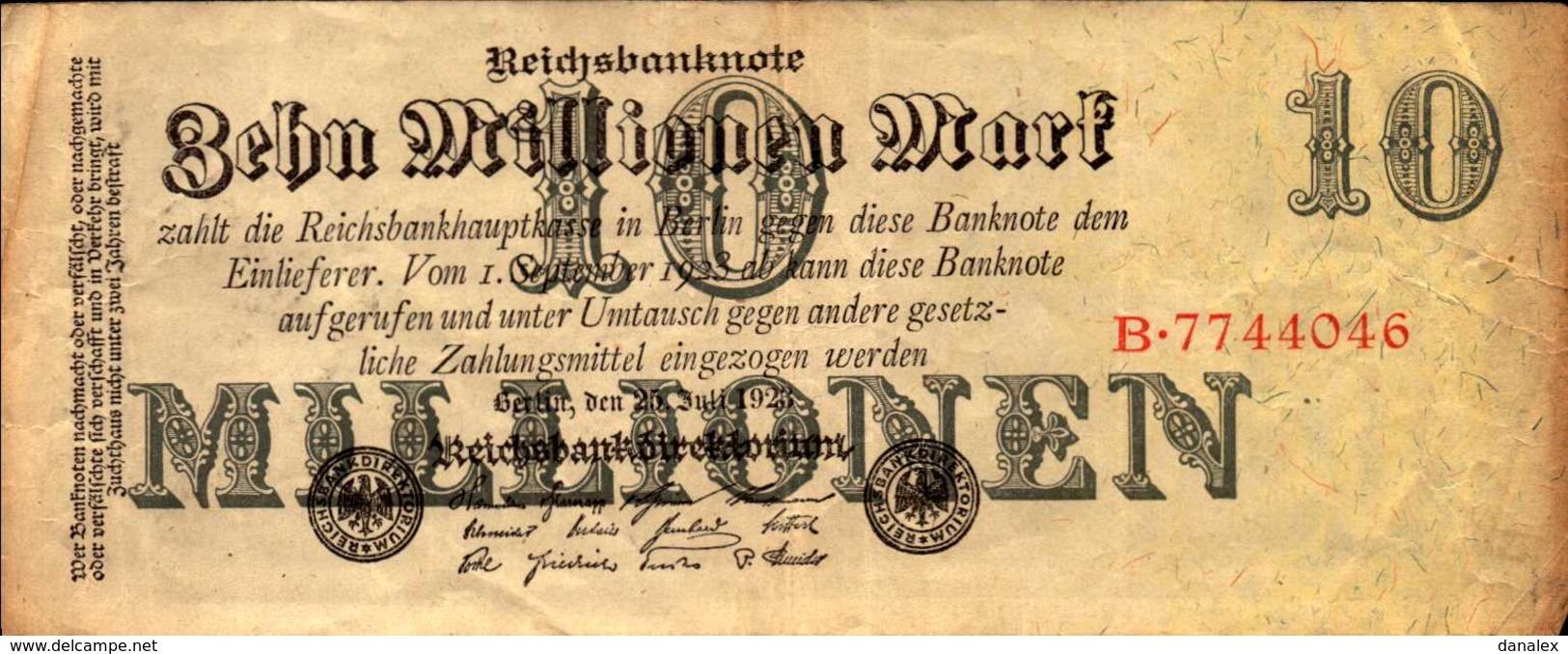 ALLEMAGNE WEIMAR 1000000 MARK Du 25-7-1923  Pick 96 - 10 Millionen Mark