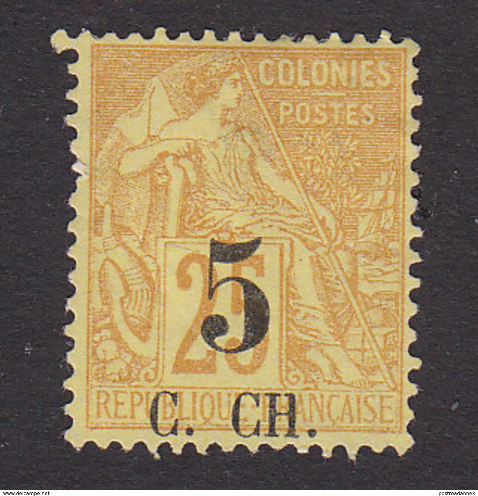 Cochin Chin, Scott #3, Used, French Colonies Surcharged, Issued 1886 - Cochinchine (1886-1887)