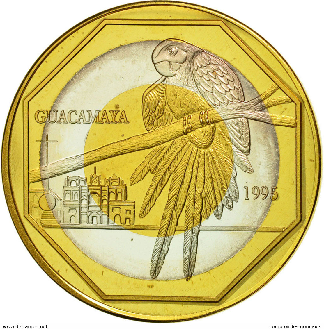 Guatemala, 50 Quetzales, 1995, Tower, SPL, Tri-Metallic, KM:3c.2 - Guatemala